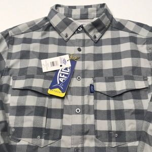 AFTCO FISHING Men's Gray Long Sleeve Flannel Shirt